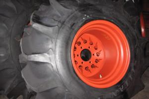 Tires mounted on custom wheels